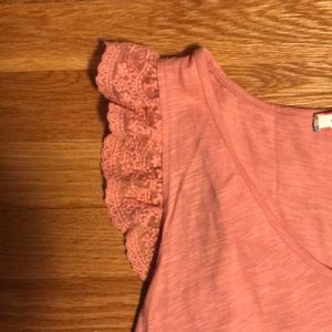 Tops - Peach Lace Sleeve Top